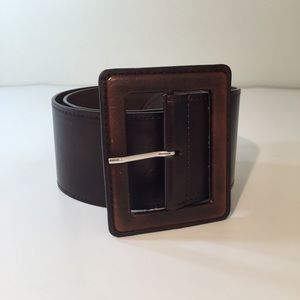 Brown leather square buckle wide belt size S-M